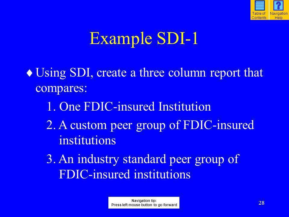 28 Example SDI-1 Using SDI, create a three column report that compares: 1. One FDIC-insured Institution 2. A custom peer group of FDIC-insured institu