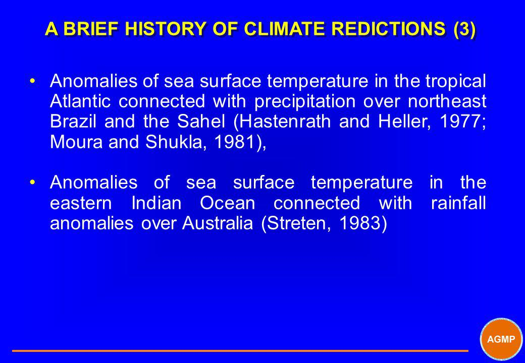 A BRIEF HISTORY OF CLIMATE REDICTIONS (3) Anomalies of sea surface temperature in the tropical Atlantic connected with precipitation over northeast Br