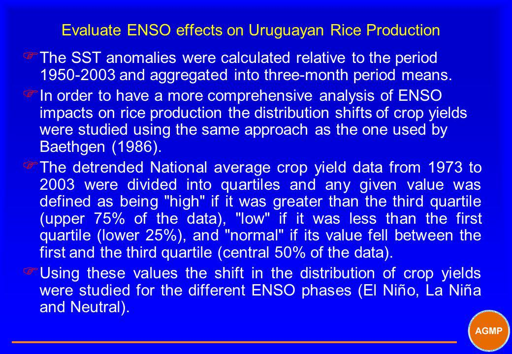 Evaluate ENSO effects on Uruguayan Rice Production F The SST anomalies were calculated relative to the period 1950-2003 and aggregated into three-mont