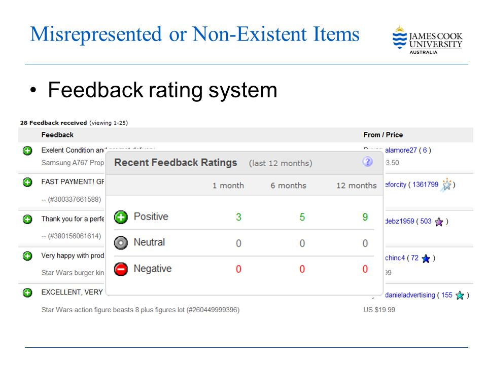 Misrepresented or Non-Existent Items Feedback rating system