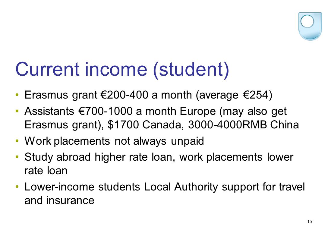 15 Current income (student) Erasmus grant 200-400 a month (average 254) Assistants 700-1000 a month Europe (may also get Erasmus grant), $1700 Canada, 3000-4000RMB China Work placements not always unpaid Study abroad higher rate loan, work placements lower rate loan Lower-income students Local Authority support for travel and insurance