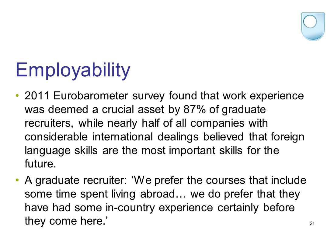 21 Employability 2011 Eurobarometer survey found that work experience was deemed a crucial asset by 87% of graduate recruiters, while nearly half of all companies with considerable international dealings believed that foreign language skills are the most important skills for the future.