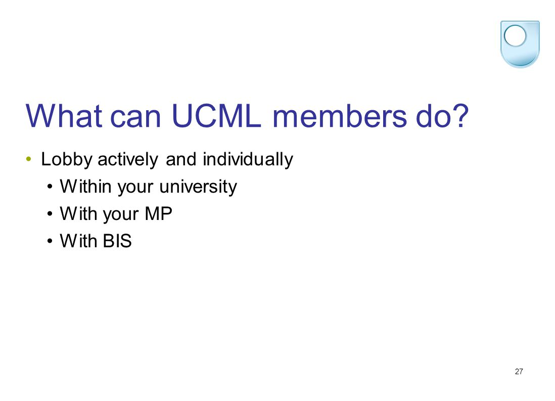 27 What can UCML members do.