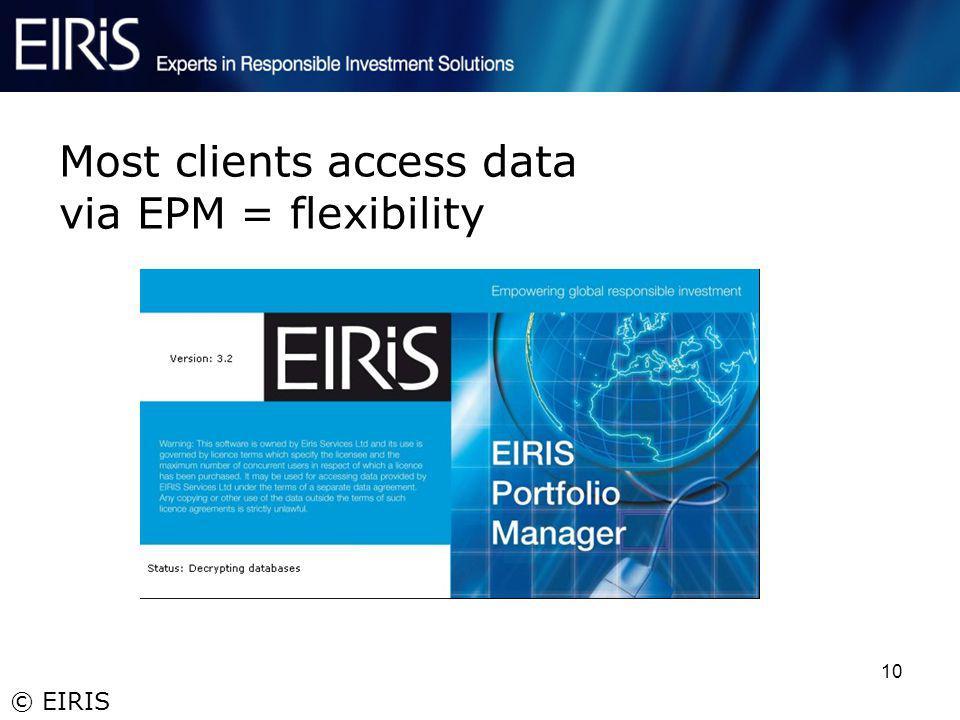 © EIRIS 10 Most clients access data via EPM = flexibility