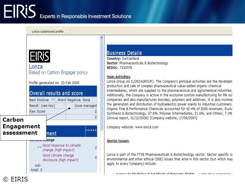 © EIRIS 13 Carbon Engagement assessment