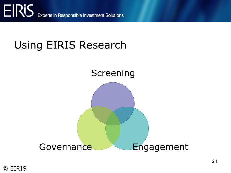 © EIRIS 24 Using EIRIS Research Screening EngagementGovernance
