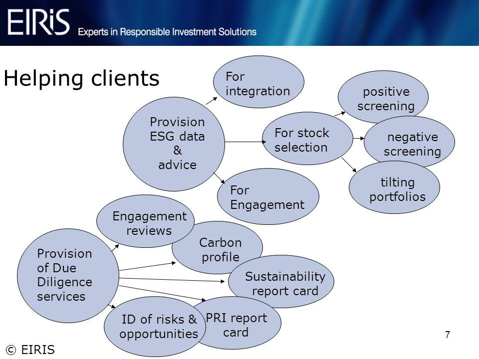 © EIRIS 7 Helping clients Provision of Due Diligence services For integration For stock selection For Engagement positive screening negative screening