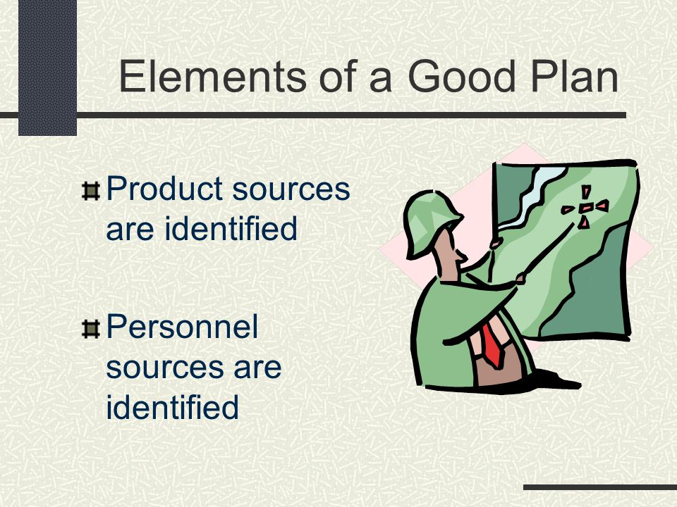Elements of a Good Plan Product sources are identified Personnel sources are identified