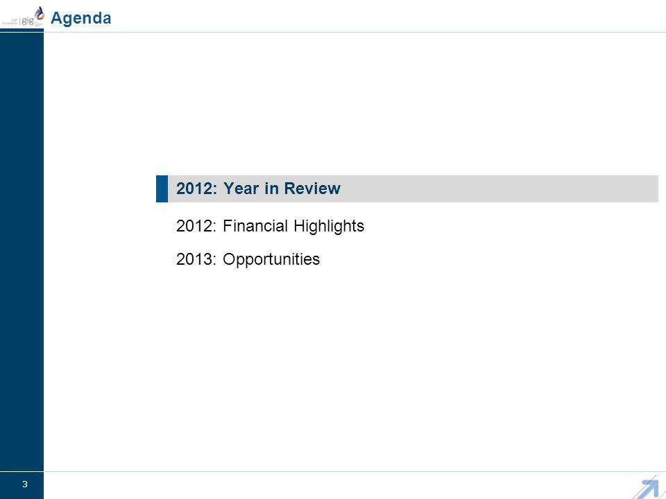 3 2013: Opportunities 2012: Year in Review Agenda 2012: Financial Highlights