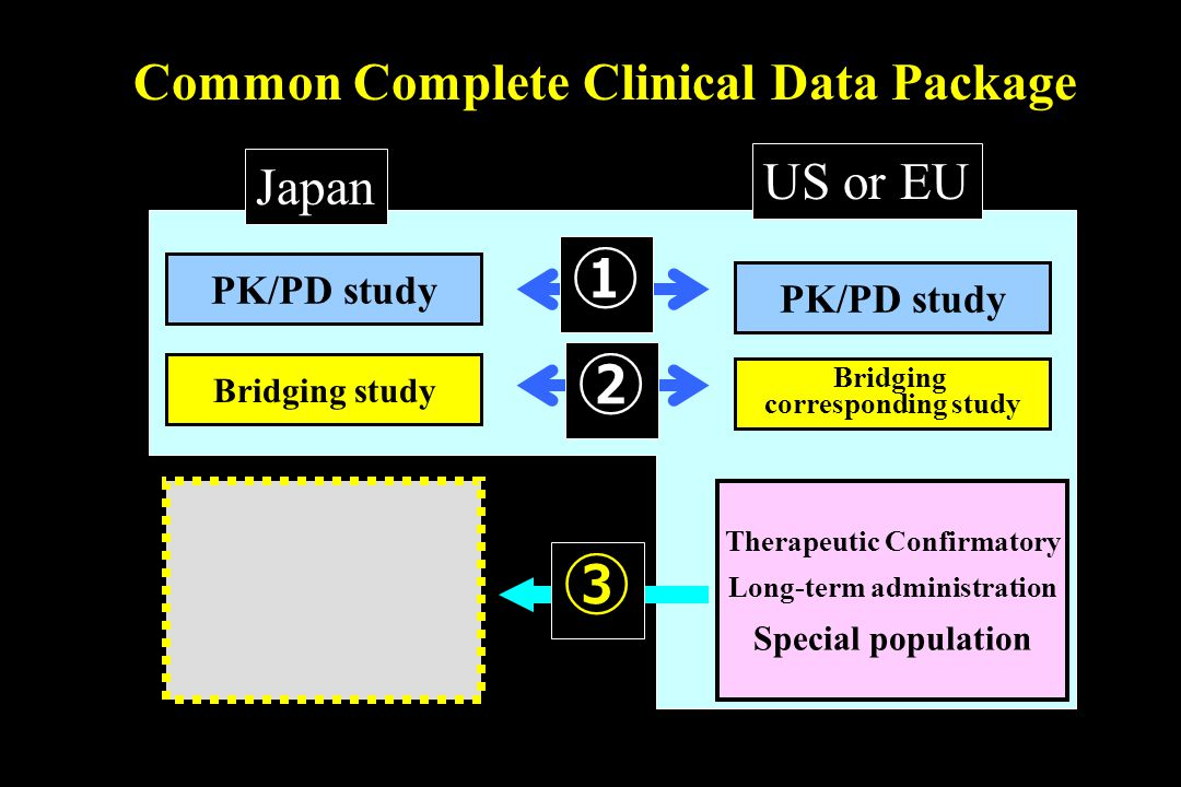 Common Complete Clinical Data Package PK/PD study Japan US or EU PK/PD study Bridging study Bridging corresponding study Therapeutic Confirmatory Long