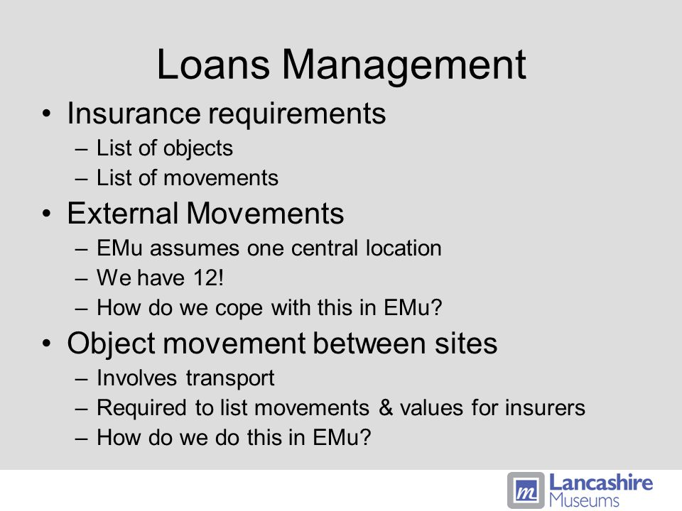 Loans Management Insurance requirements –List of objects –List of movements External Movements –EMu assumes one central location –We have 12.
