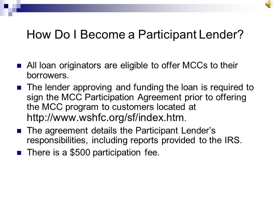 Participant Lender Reporting Participant Lenders shall file an annual report with the Internal Revenue Service on IRS Form 8329 Participant Lender sha