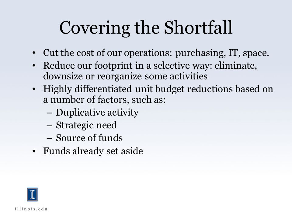Covering the Shortfall Cut the cost of our operations: purchasing, IT, space.