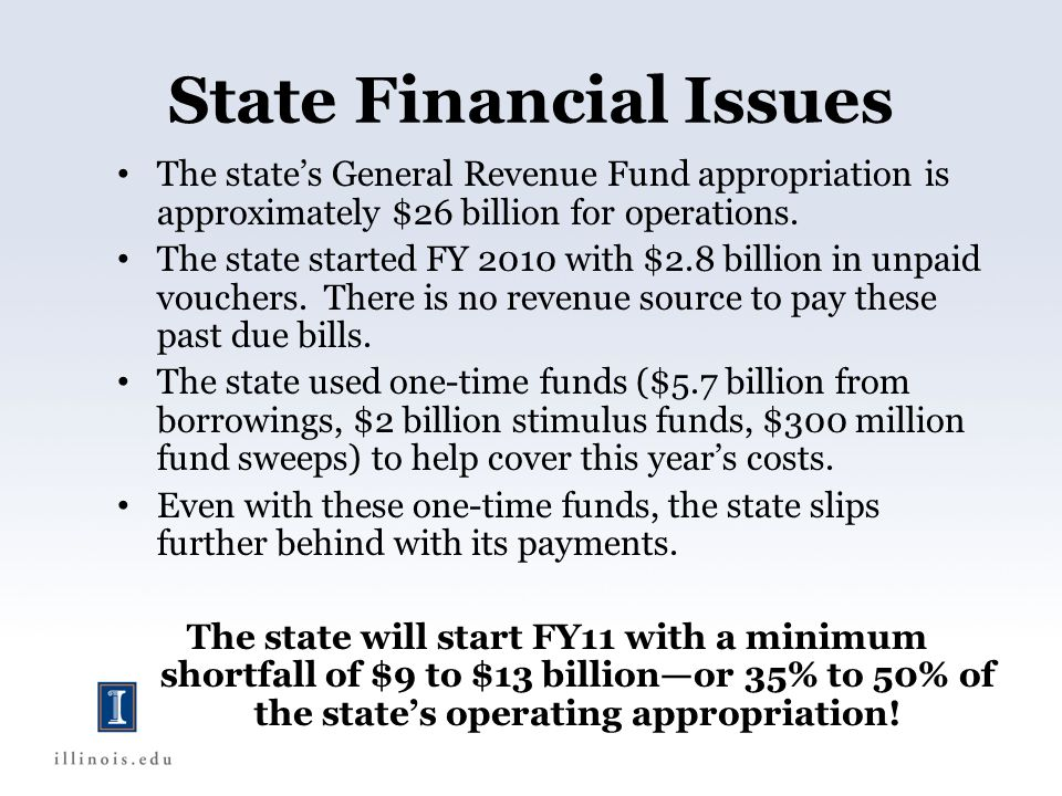 State Financial Issues The states General Revenue Fund appropriation is approximately $26 billion for operations.