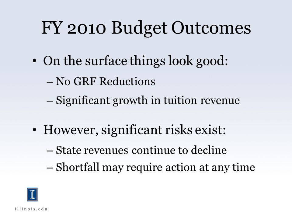 FY 2010 Budget Outcomes On the surface things look good: – No GRF Reductions – Significant growth in tuition revenue However, significant risks exist: – State revenues continue to decline – Shortfall may require action at any time