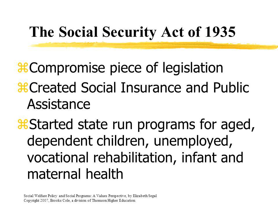 Social Welfare Policy and Social Programs: A Values Perspective, by Elizabeth Segal Copyright 2007, Brooks/Cole, a division of Thomson Higher Education The Great Depression 1925-1940 zExisting social welfare systems were unable to meet the need zPublic opinion changed as to cause of poverty zThe New Deal was federal governments response to social conditions zStarted with FERA, CCC, and WPA