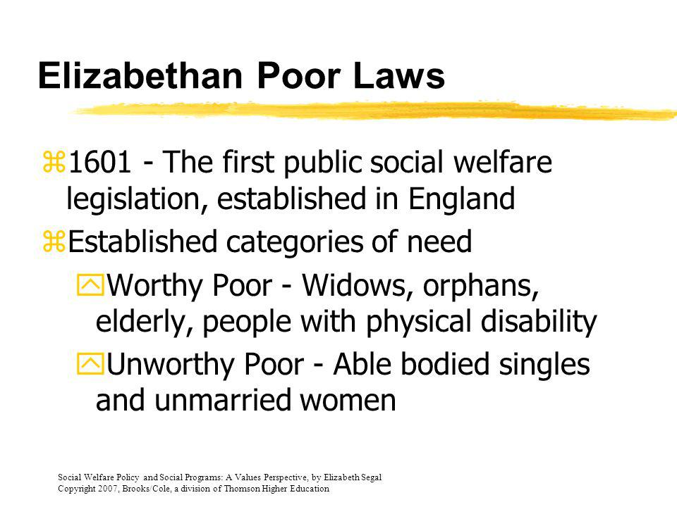 Social Welfare Policy and Social Programs: A Values Perspective, by Elizabeth Segal Copyright 2007, Brooks/Cole, a division of Thomson Higher Education Views of Colonial Period zAmerica land of abundant resources zNative people and African slaves were regarded as nonpersons without rights zRoom for growth and personal gain zPoverty seen as a personal misfortune, not a public responsibility
