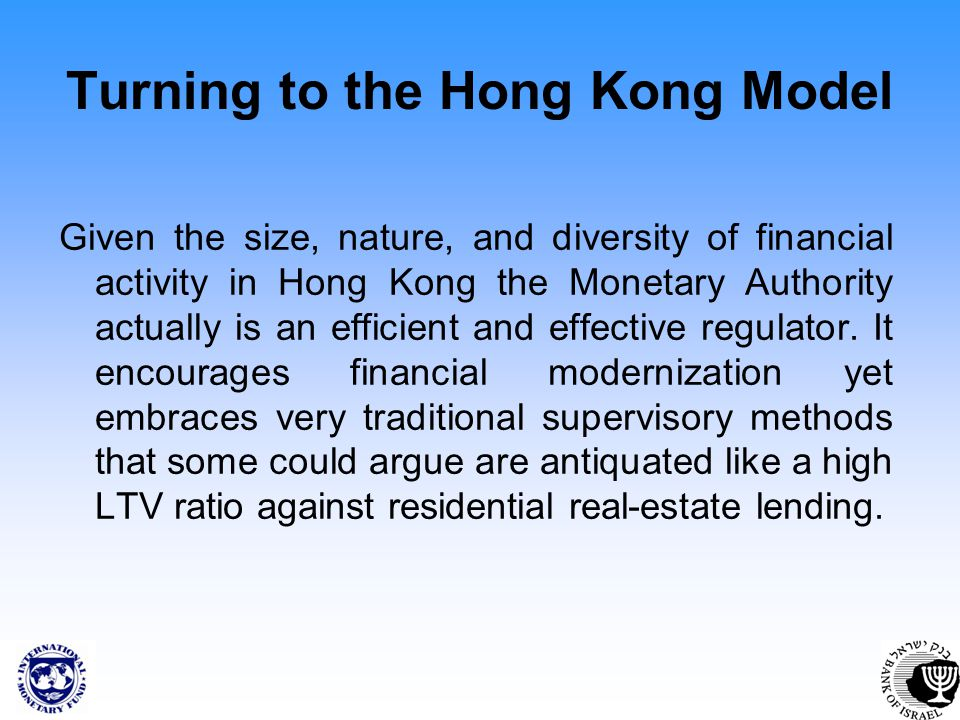 Turning to the Hong Kong Model Given the size, nature, and diversity of financial activity in Hong Kong the Monetary Authority actually is an efficient and effective regulator.
