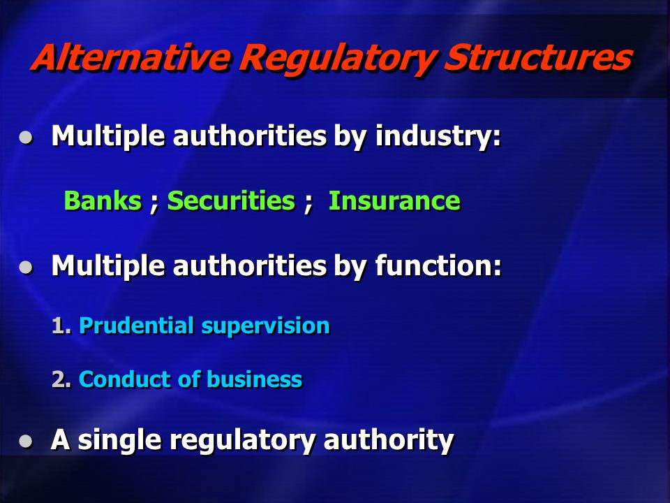 Alternative Regulatory Structures Multiple authorities by industry: Banks ; Securities ; Insurance Multiple authorities by function: 1.Prudential supe