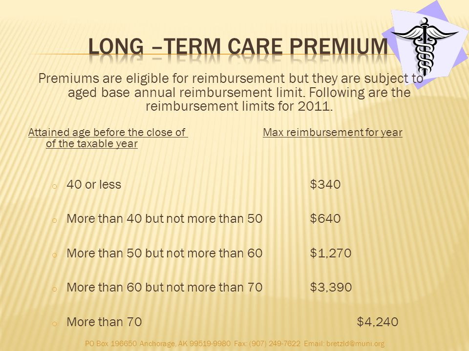 Premiums are eligible for reimbursement but they are subject to aged base annual reimbursement limit.