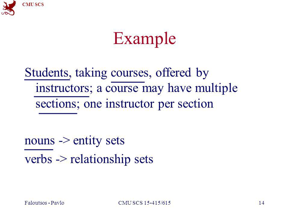 CMU SCS Faloutsos - PavloCMU SCS 15-415/61514 Example Students, taking courses, offered by instructors; a course may have multiple sections; one instructor per section nouns -> entity sets verbs -> relationship sets