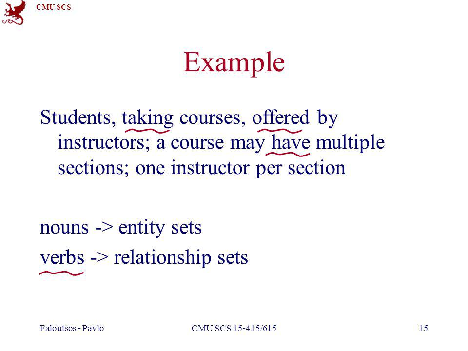 CMU SCS Faloutsos - PavloCMU SCS 15-415/61515 Example Students, taking courses, offered by instructors; a course may have multiple sections; one instructor per section nouns -> entity sets verbs -> relationship sets