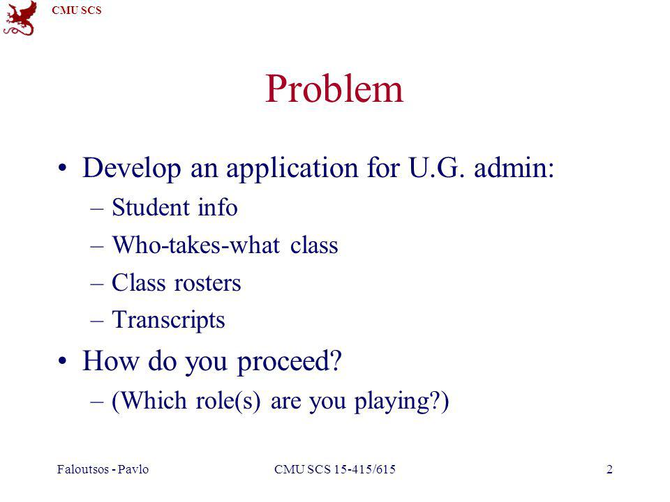 CMU SCS Problem Develop an application for U.G.