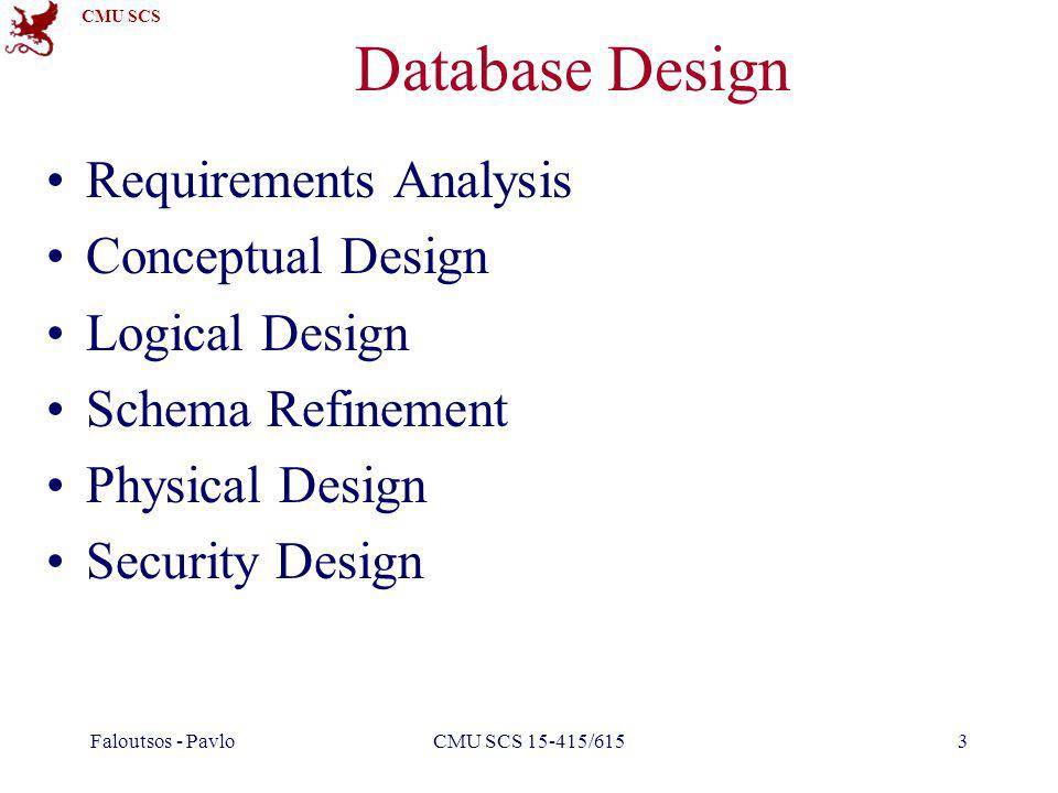 CMU SCS Faloutsos - PavloCMU SCS 15-415/6153 Database Design Requirements Analysis Conceptual Design Logical Design Schema Refinement Physical Design Security Design