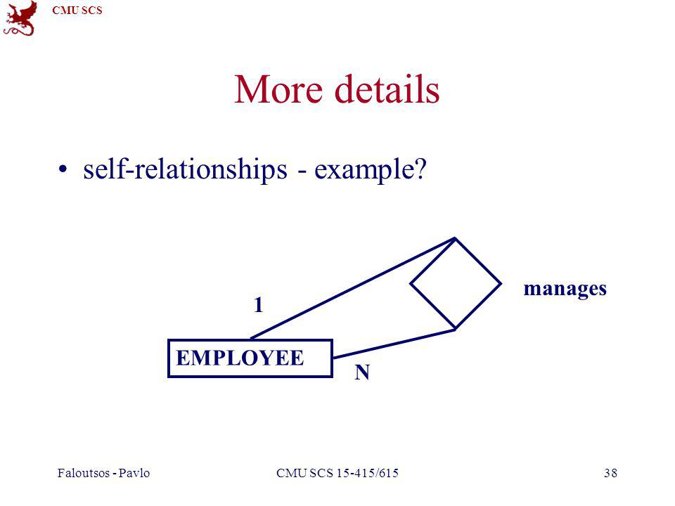 CMU SCS Faloutsos - PavloCMU SCS 15-415/61538 More details self-relationships - example? EMPLOYEE manages 1 N