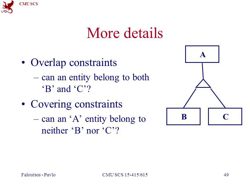 CMU SCS Faloutsos - PavloCMU SCS 15-415/61549 More details Overlap constraints –can an entity belong to both B and C? Covering constraints –can an A e