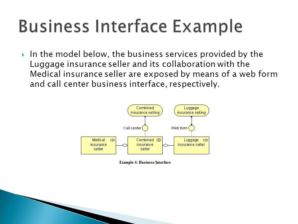 In the model below, the business services provided by the Luggage insurance seller and its collaboration with the Medical insurance seller are exposed