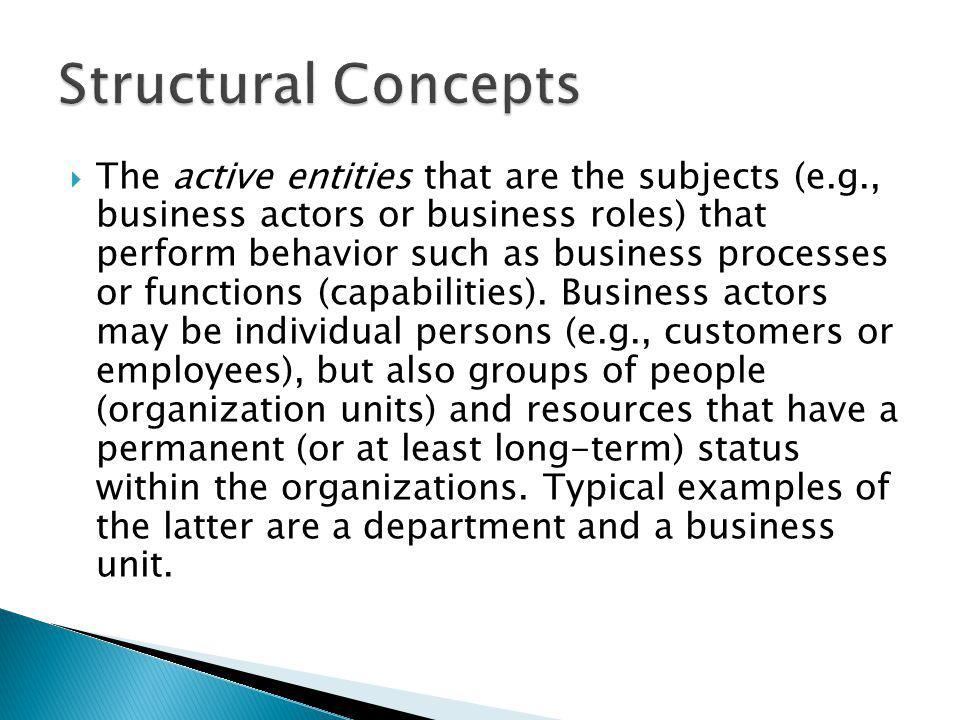 The active entities that are the subjects (e.g., business actors or business roles) that perform behavior such as business processes or functions (cap