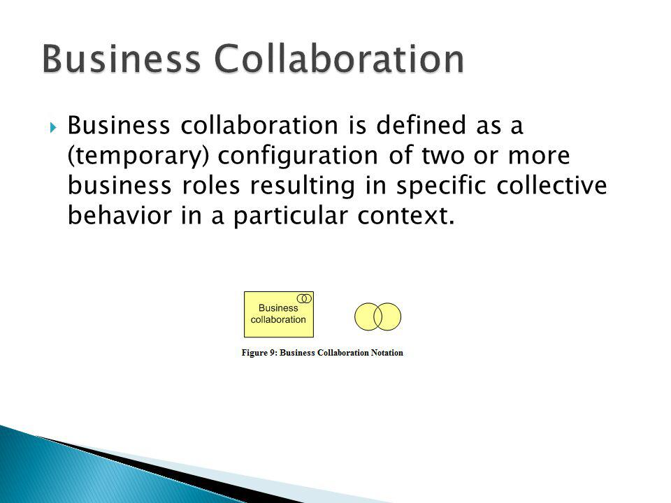 Business collaboration is defined as a (temporary) configuration of two or more business roles resulting in specific collective behavior in a particul