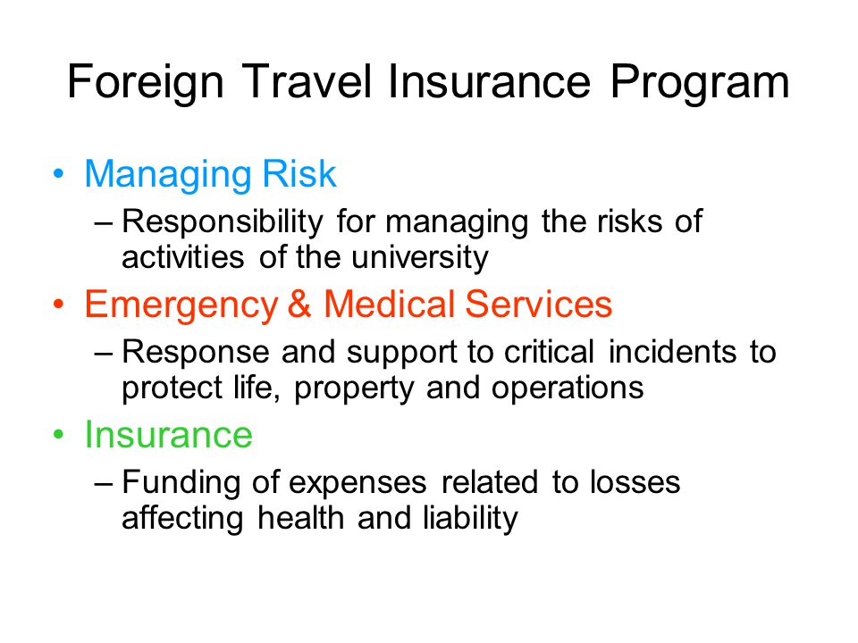 Foreign Travel Insurance Program Managing Risk –Responsibility for managing the risks of activities of the university Emergency & Medical Services –Response and support to critical incidents to protect life, property and operations Insurance –Funding of expenses related to losses affecting health and liability