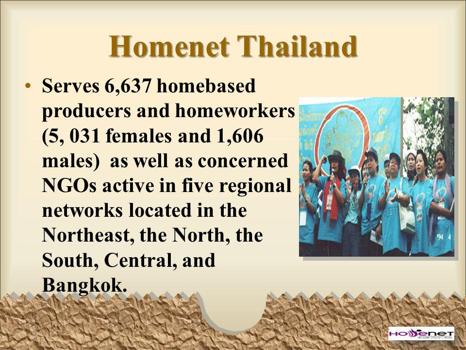 Homenet Thailand Serves 6,637 homebased producers and homeworkers (5, 031 females and 1,606 males) as well as concerned NGOs active in five regional networks located in the Northeast, the North, the South, Central, and Bangkok.