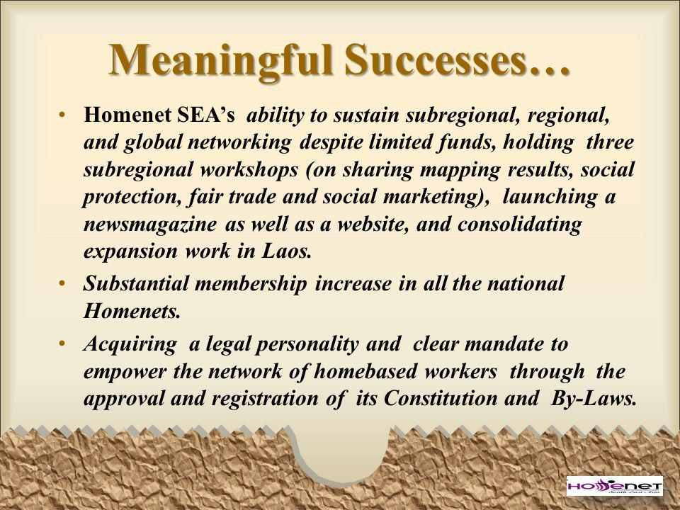 Meaningful Successes… Homenet SEAs ability to sustain subregional, regional, and global networking despite limited funds, holding three subregional wo