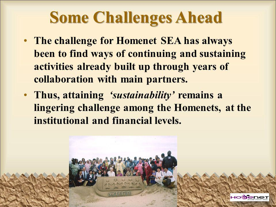 Some Challenges Ahead The challenge for Homenet SEA has always been to find ways of continuing and sustaining activities already built up through year