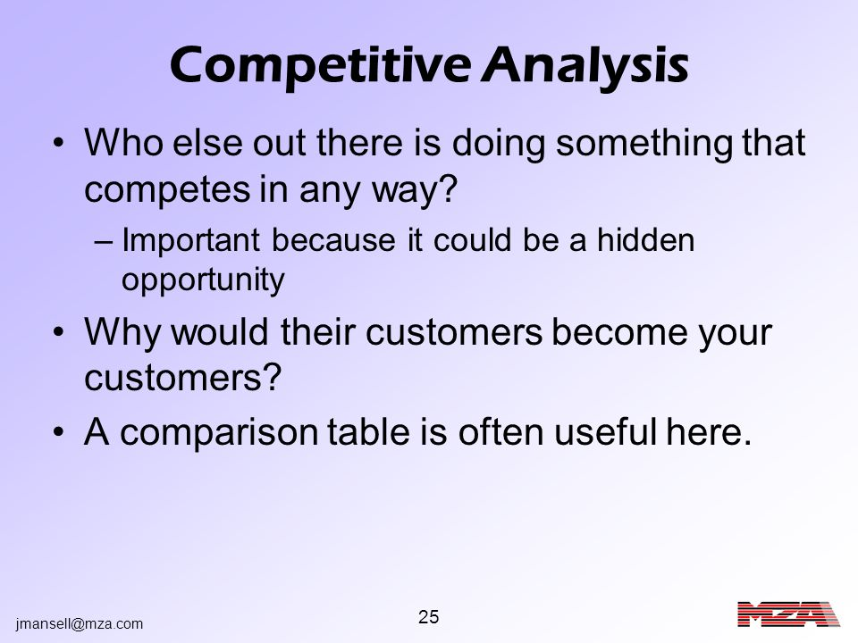 jmansell@mza.com 25 Competitive Analysis Who else out there is doing something that competes in any way? –Important because it could be a hidden oppor