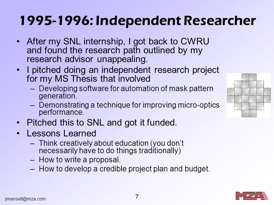 jmansell@mza.com 8 1996-1999: Wavefront Sciences As I was leaving SNL to go to Stanford for my Ph.D., my SNL boss was leaving to try a start-up called Wavefront Sciences (WFSI).