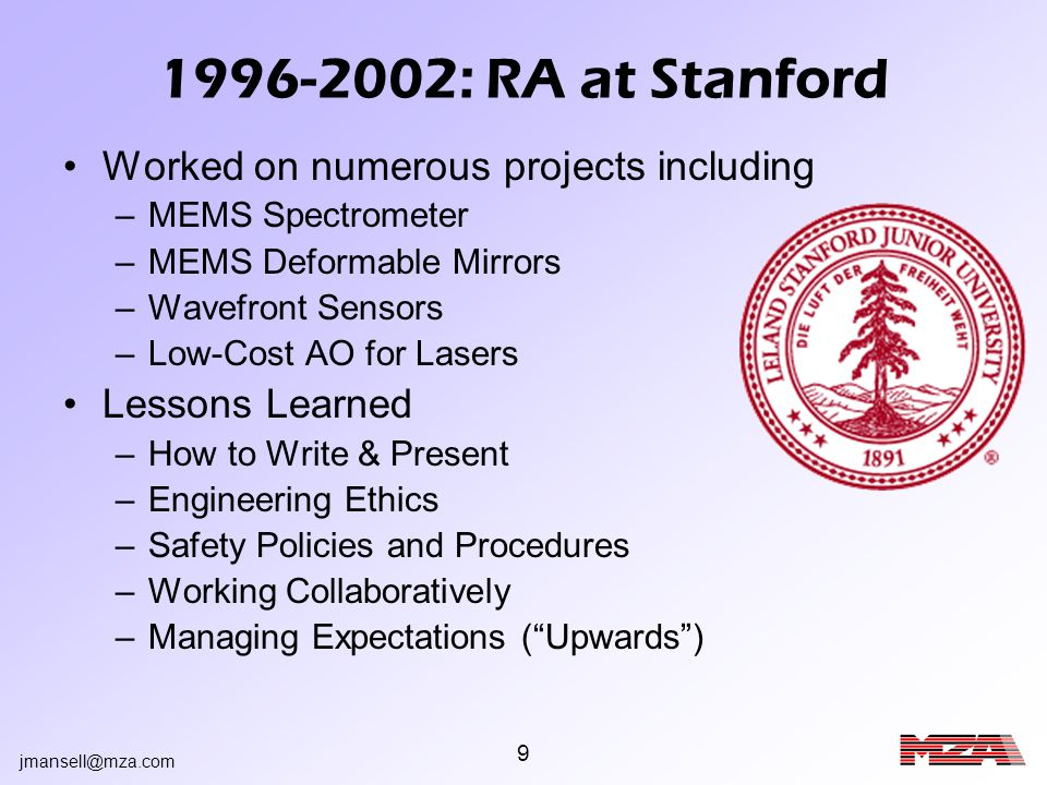 jmansell@mza.com 40 Competitive Analysis CompetitorAnalysis Company AMEMS-based (costly ~$50k) High Power Laser Capable Slow Growth Strategy (CEO is a Professor) Products Need Engineering (not turn-key) Company BLimited in size Limited Laser Power Handling High Cost (~$100k for DM + Electronics) Company CFocusing on the Ophthalmology Market High Cost ($75k for DM + Electronics) Cannot handle high power lasers AOSLow Cost ($6.5k DM + Electronics, $7.5k Systems) Turn-key Systems