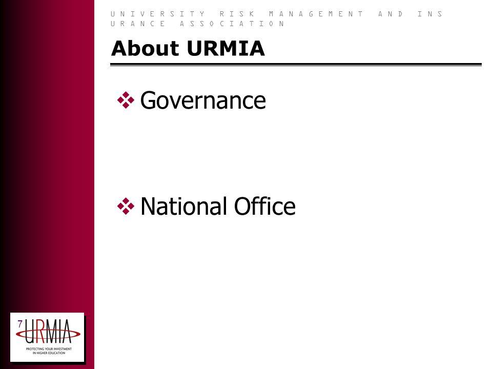 U N I V E R S I T Y R I S K M A N A G E M E N T A N D I N S U R A N C E A S S O C I A T I O N 7 About URMIA Governance National Office