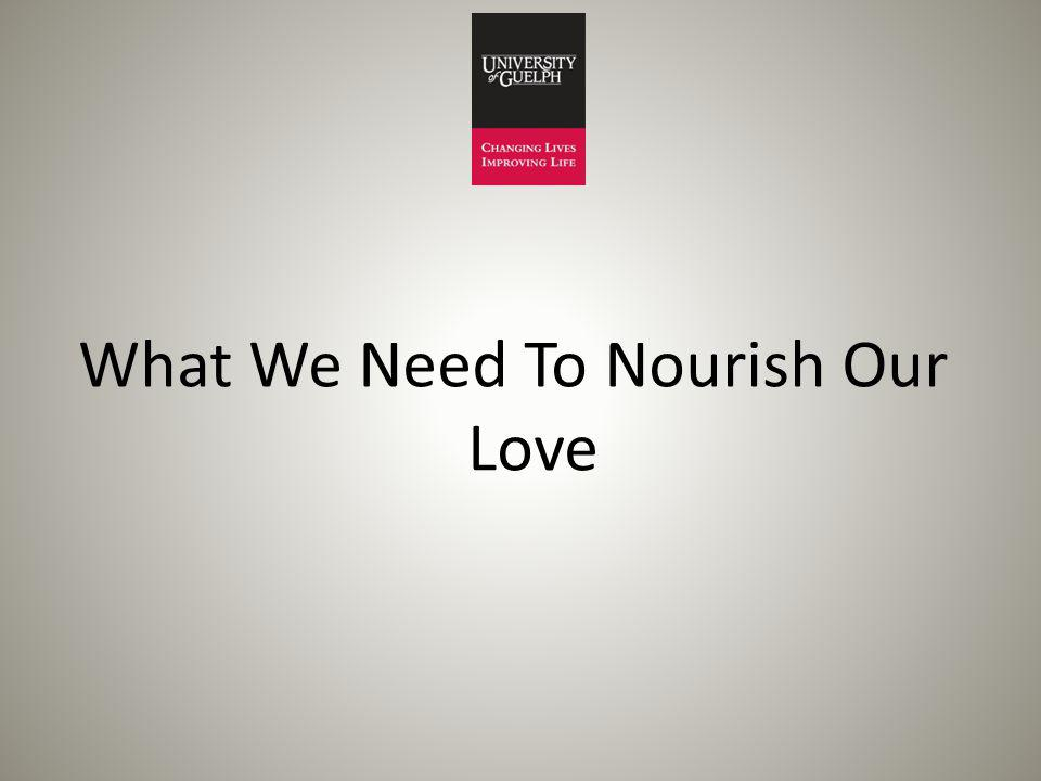What We Need To Nourish Our Love