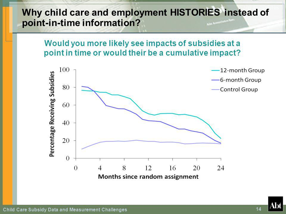 Child Care Subsidy Data and Measurement Challenges 14 Why child care and employment HISTORIES instead of point-in-time information? Would you more lik