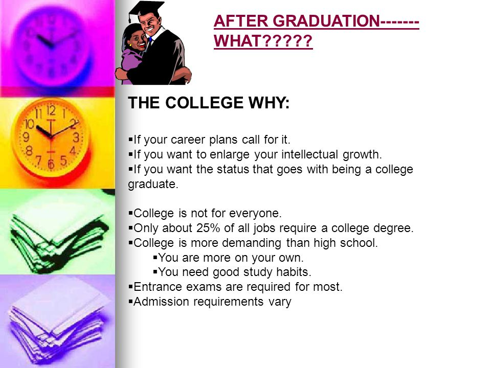 AFTER GRADUATION------- WHAT????. THE COLLEGE WHY: If your career plans call for it.
