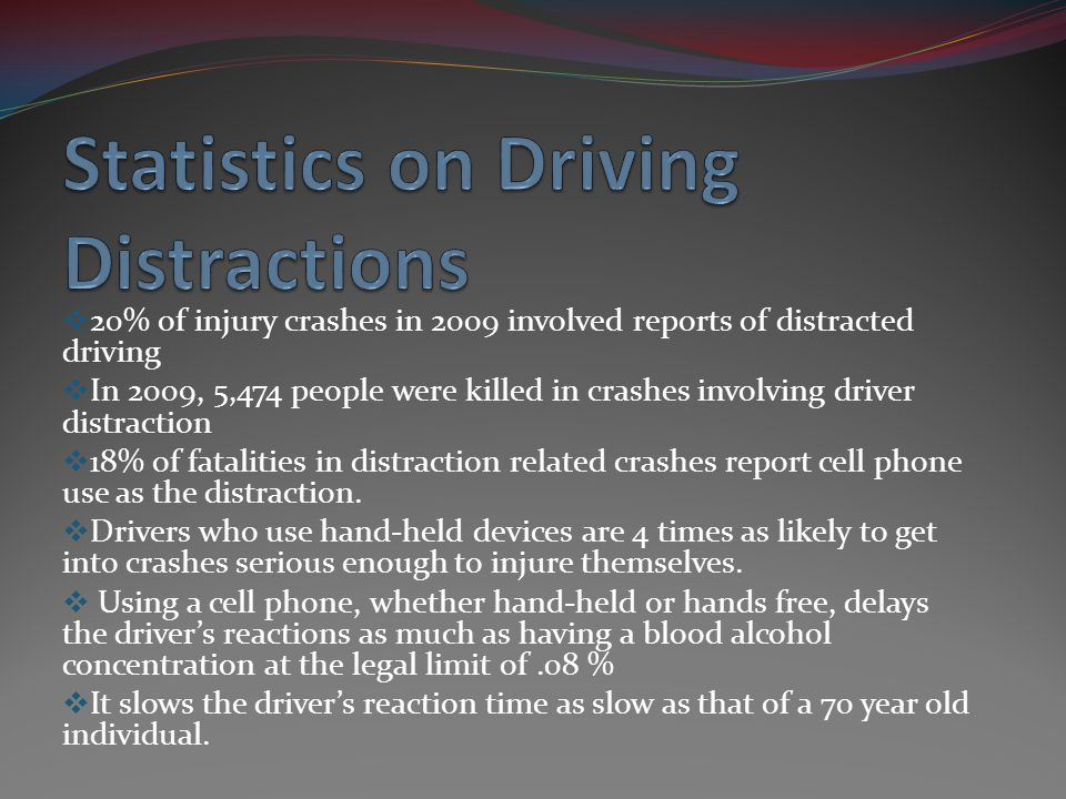 20% of injury crashes in 2009 involved reports of distracted driving In 2009, 5,474 people were killed in crashes involving driver distraction 18% of
