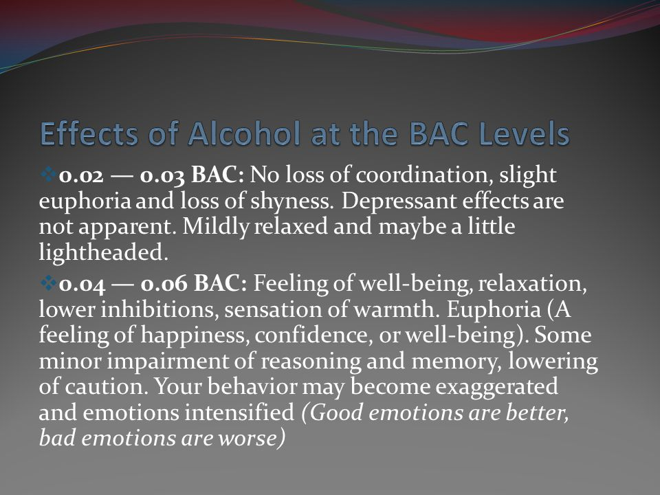 0.07 0.09 BAC: Slight impairment of balance, speech, vision, reaction time, and hearing.