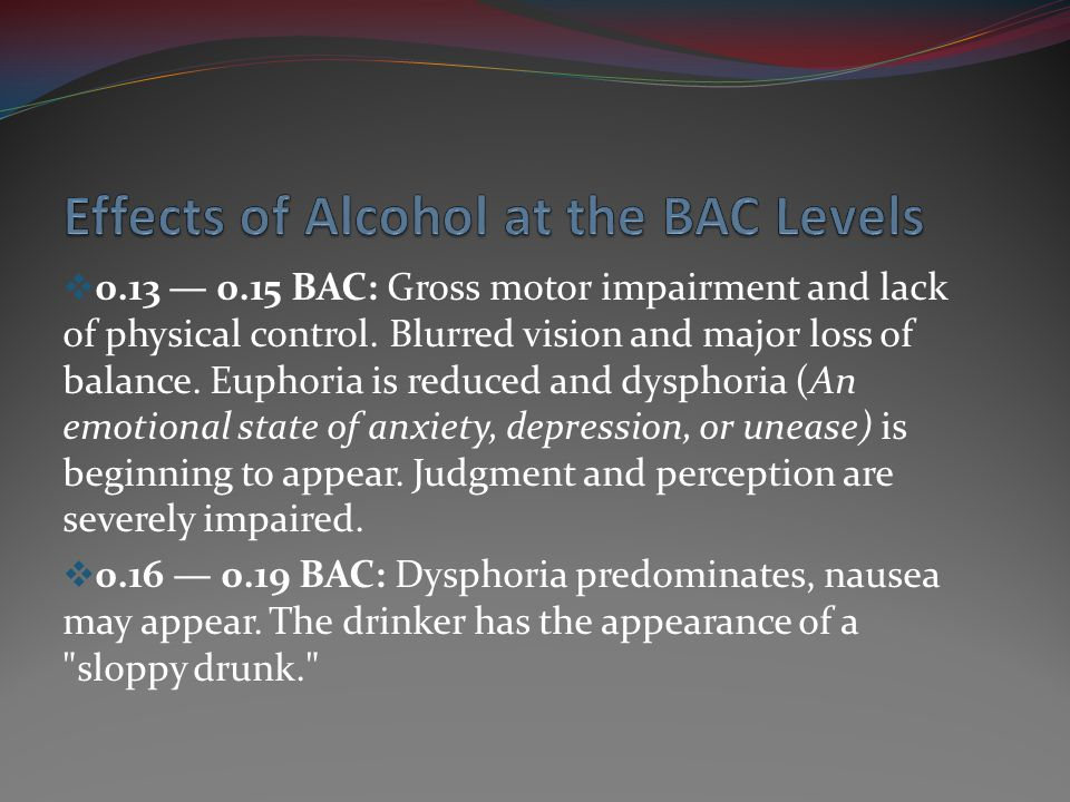 0.20 BAC: Feeling dazed/confused or otherwise disoriented.