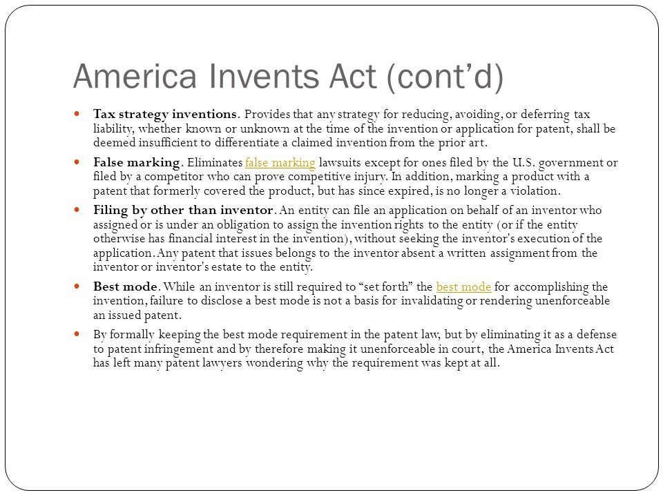 America Invents Act (contd) Tax strategy inventions.