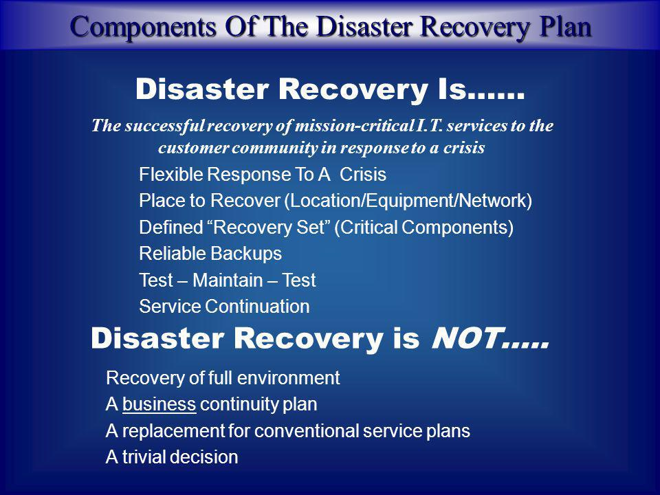 Disaster Recovery Planning Steps taken to restore specified infrastructure requirements such as Information Systems, business equipment environments,