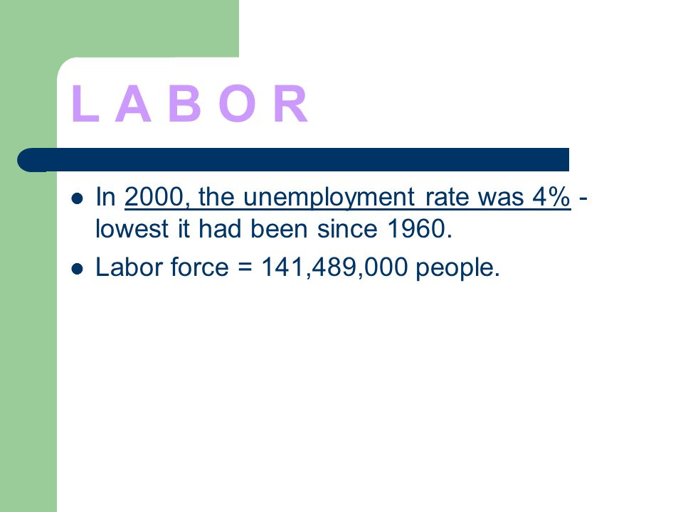 L A B O R In 2000, the unemployment rate was 4% - lowest it had been since 1960. Labor force = 141,489,000 people.
